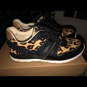 UGG DEAVEN Calf Hair Leather Leopard Sneakers Sz 7